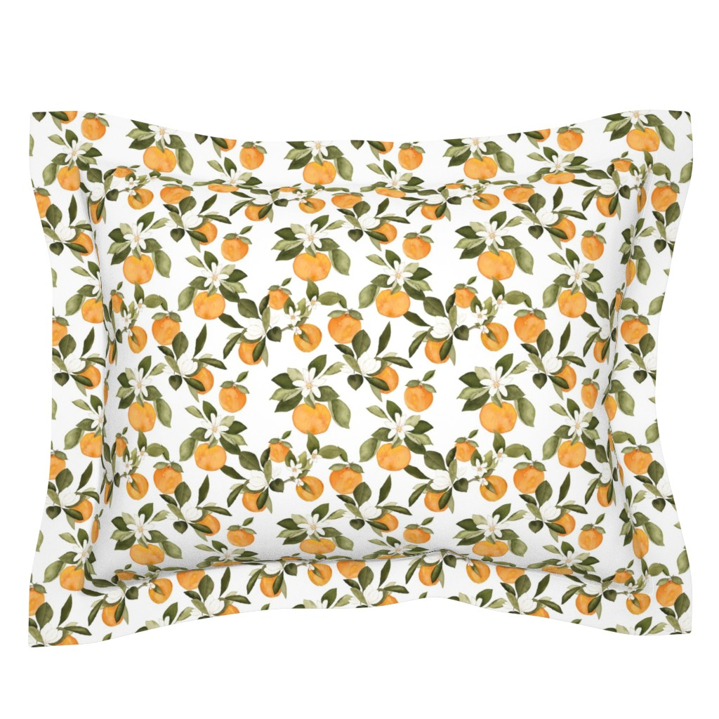 Sebright Pillow Sham featuring Orange Blossom by mintpeony