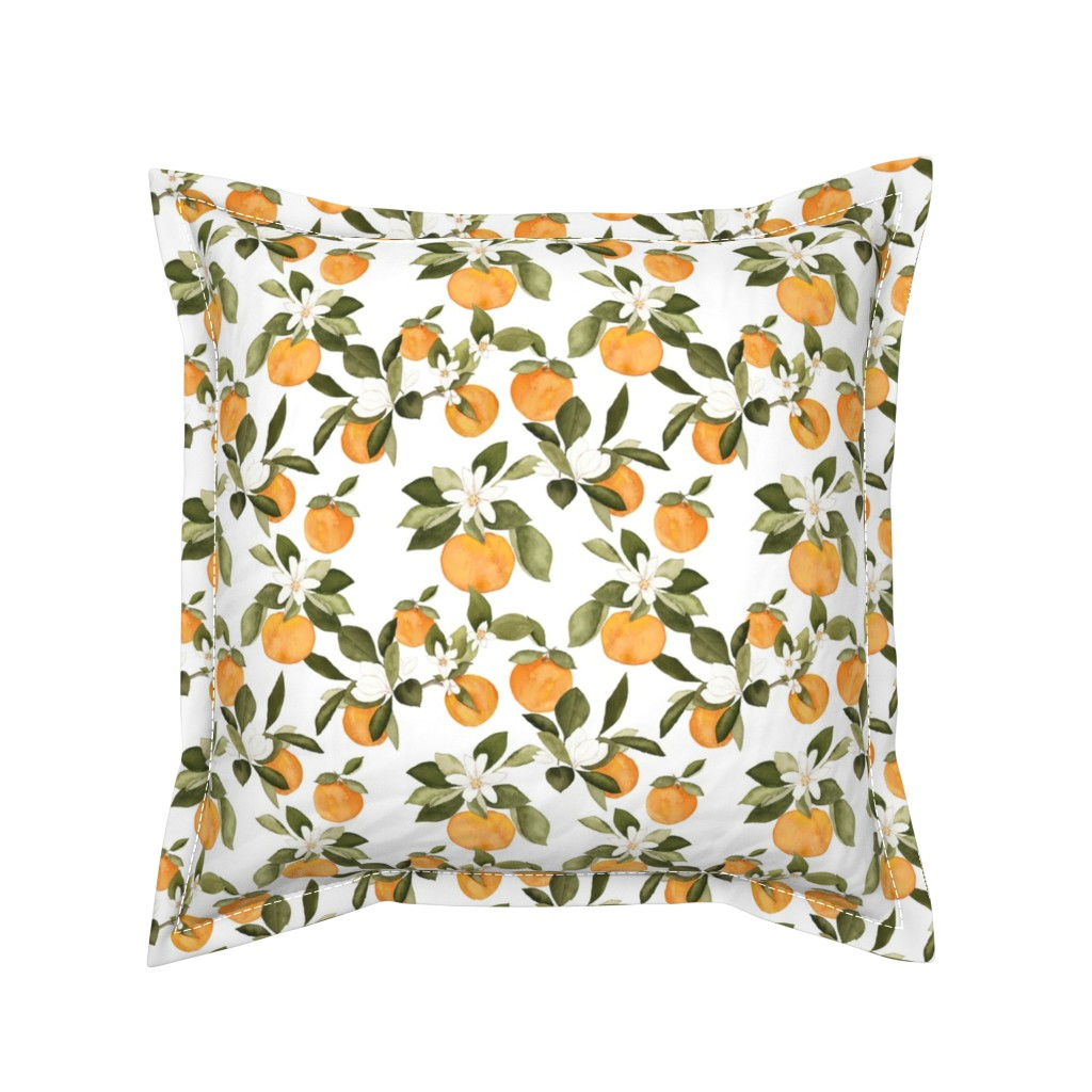 Serama Throw Pillow featuring Orange Blossom by mintpeony
