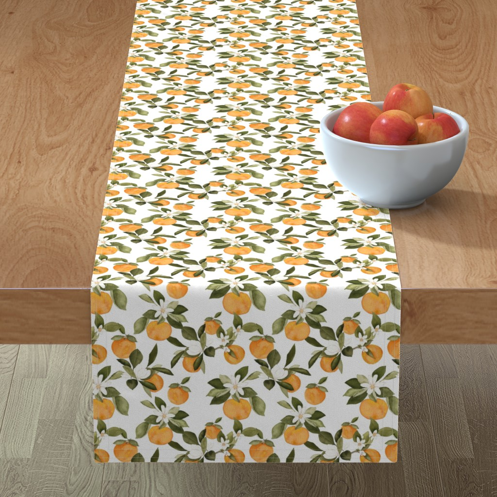 Minorca Table Runner featuring Orange Blossom by mintpeony