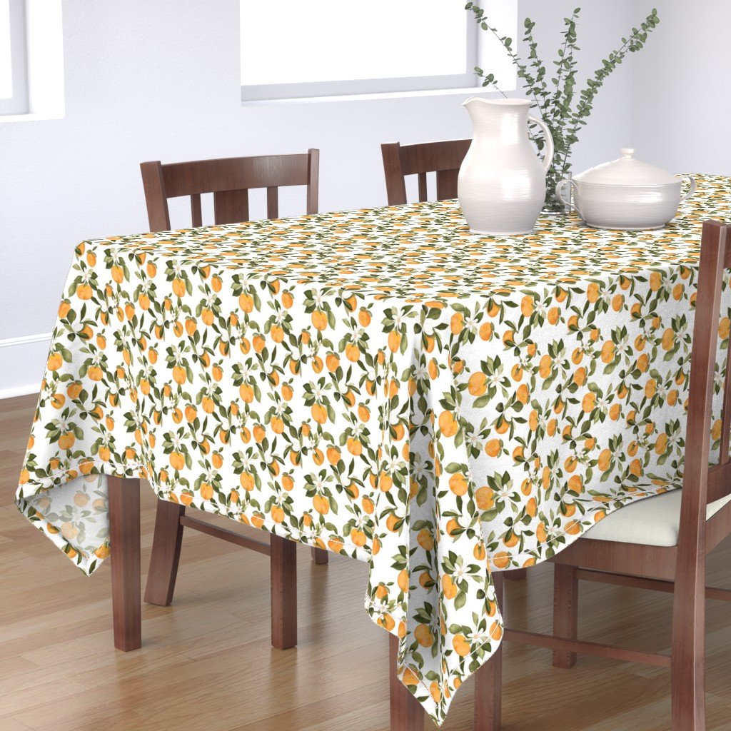 Bantam Rectangular Tablecloth featuring Orange Blossom by mintpeony