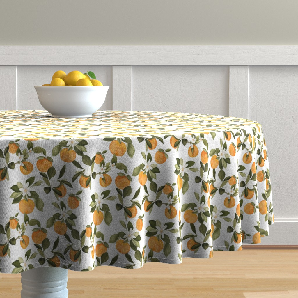 Malay Round Tablecloth featuring Orange Blossom by mintpeony
