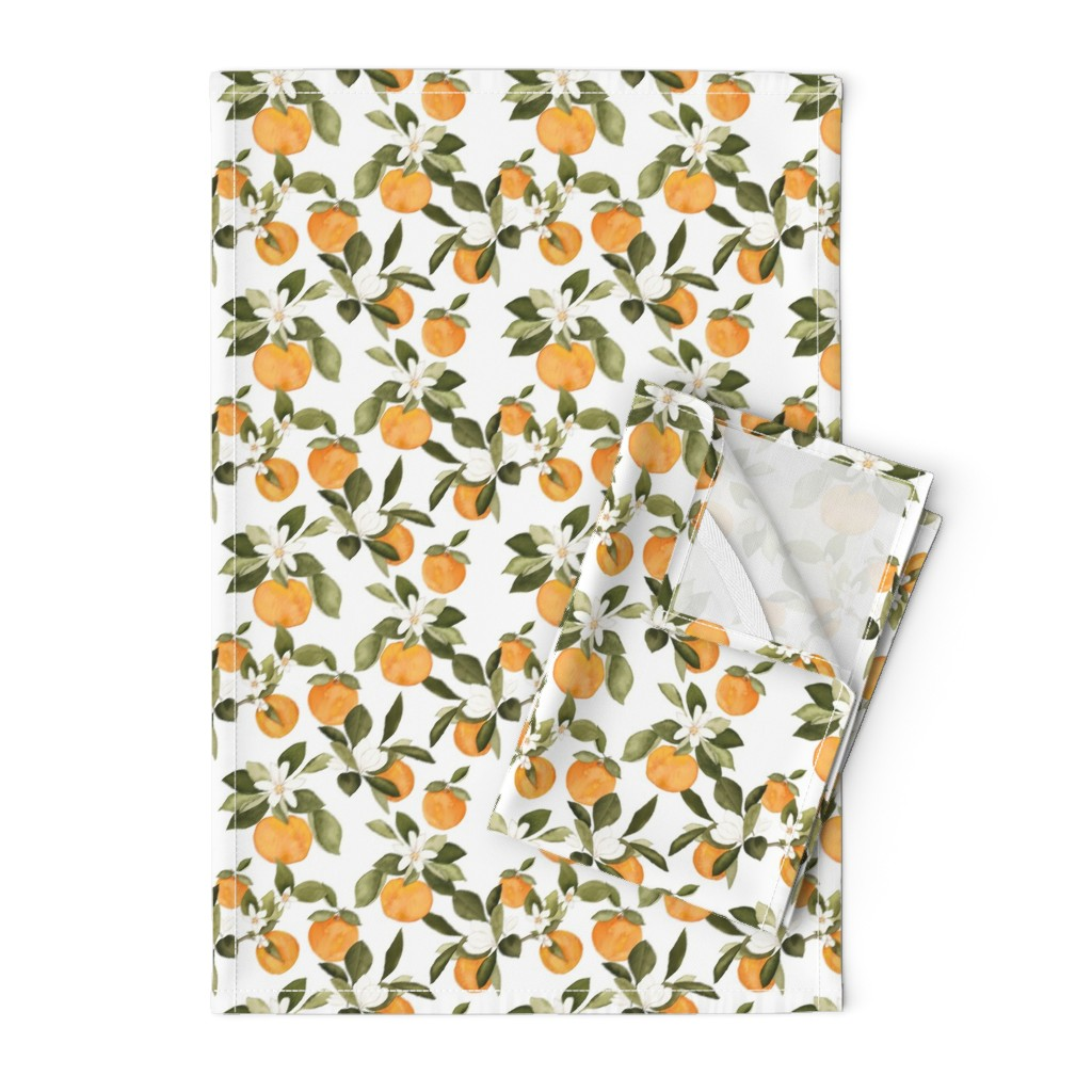 Orpington Tea Towels featuring Orange Blossom by mintpeony