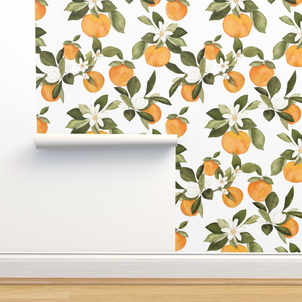 Isobar Durable Wallpaper featuring Orange Blossom by mintpeony