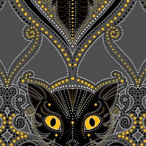 Black cat Halloween damask