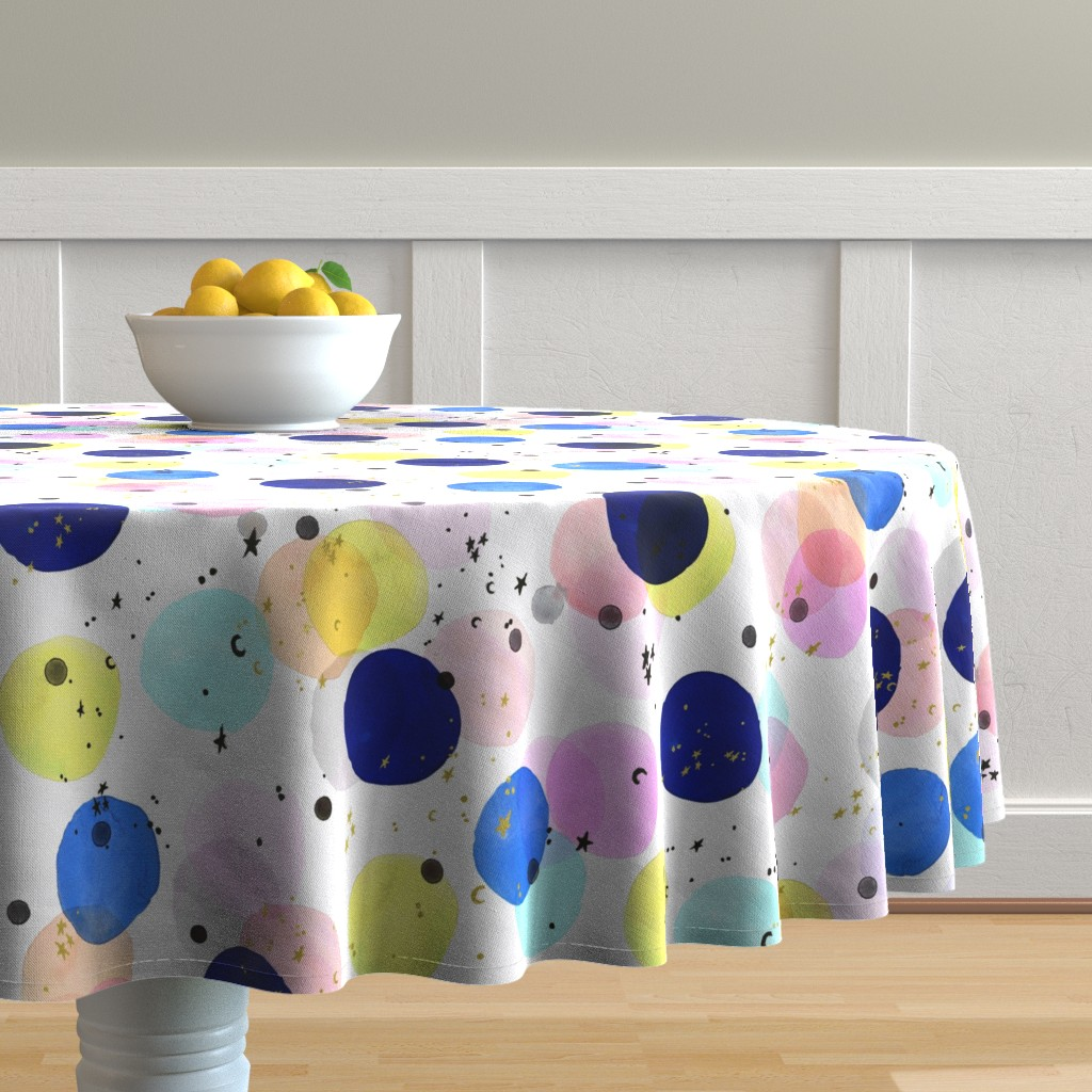 Malay Round Tablecloth featuring Magical Confetti Dots by crystal_walen