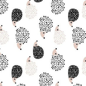Scandinavian sweet hedgehog illustration for kids gender neutral black and white rotated