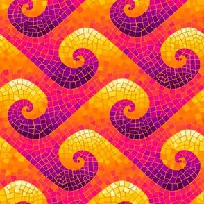 wave mosaic - bright Indian sunrise