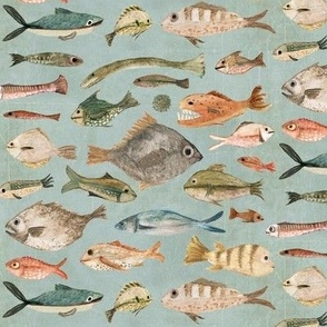 fish in duck egg blue