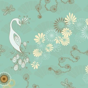Peacocks and Dragonflies on Teal