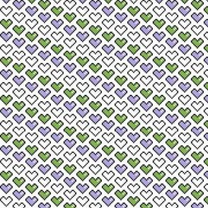 Pixel Heart (Purple, White, Green)