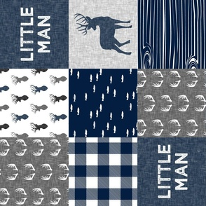 little man (90) - navy and grey (buck) quilt woodland