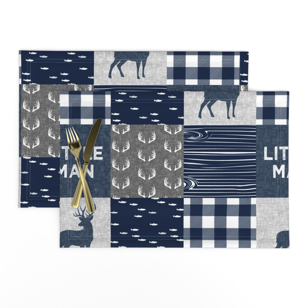 Lamona Cloth Placemats featuring little man - navy and grey (buck) quilt woodland by littlearrowdesign