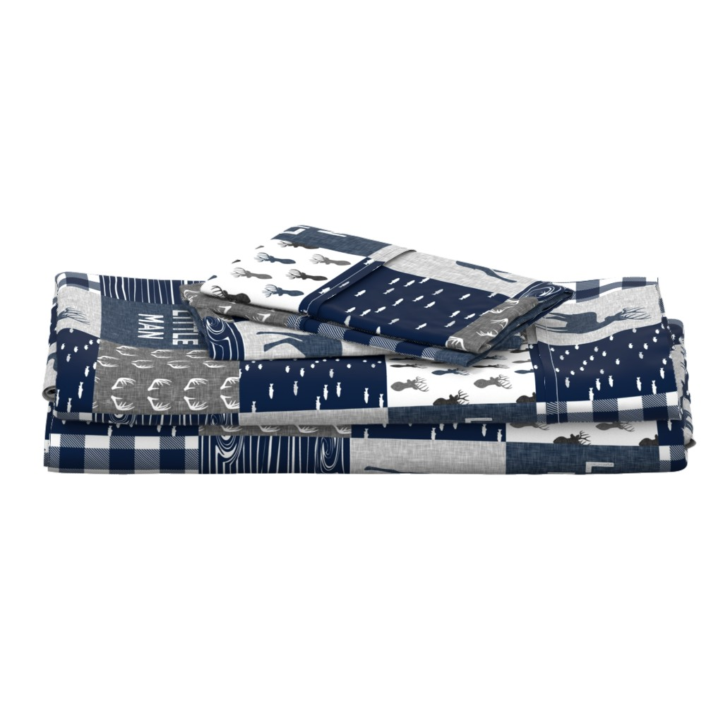 Langshan Full Bed Set featuring little man - navy and grey (buck) quilt woodland by littlearrowdesign