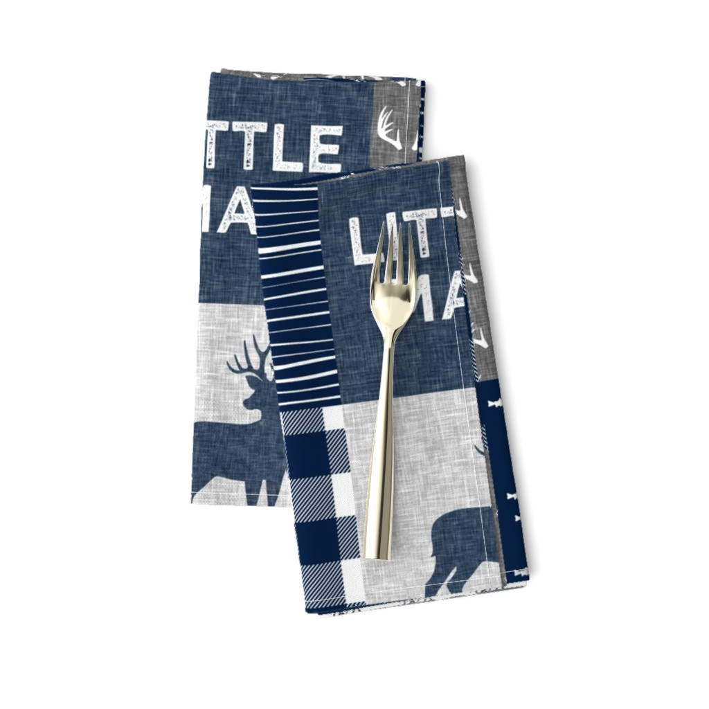 Amarela Dinner Napkins featuring little man - navy and grey (buck) quilt woodland by littlearrowdesign