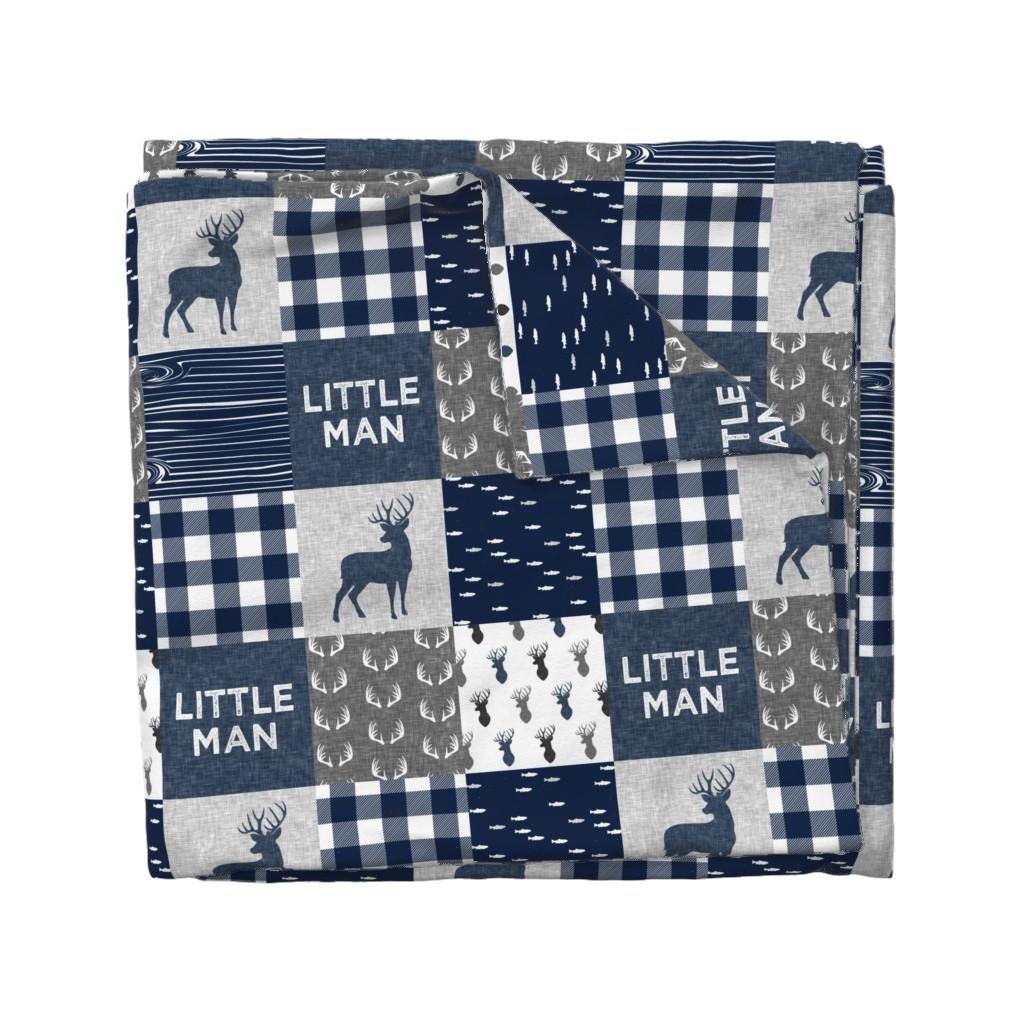 Wyandotte Duvet Cover featuring little man - navy and grey (buck) quilt woodland by littlearrowdesign