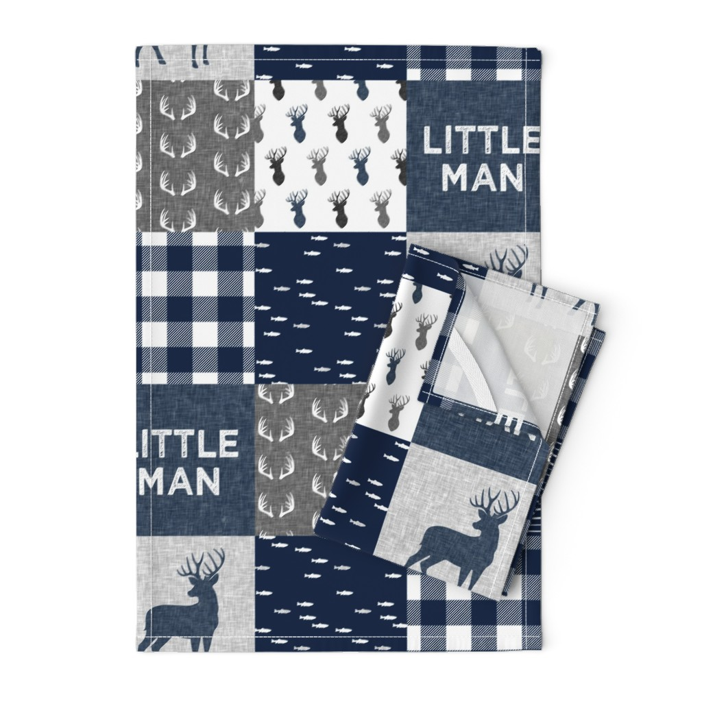Orpington Tea Towels featuring little man - navy and grey (buck) quilt woodland by littlearrowdesign