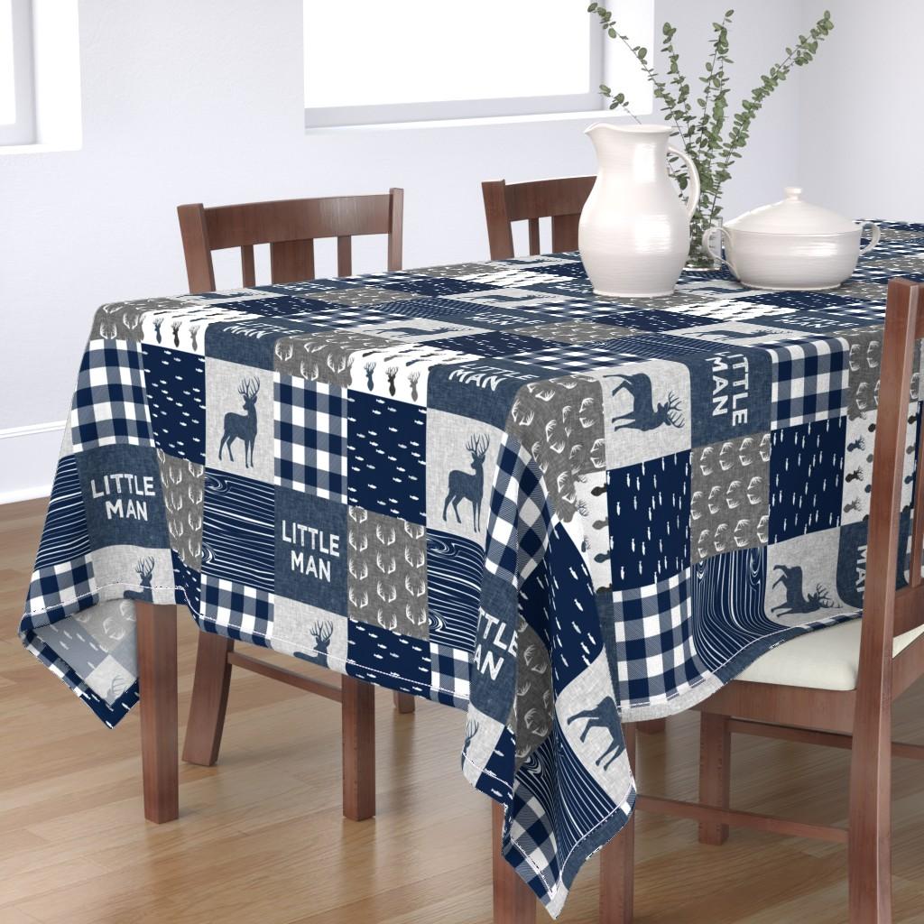 Bantam Rectangular Tablecloth featuring little man - navy and grey (buck) quilt woodland by littlearrowdesign