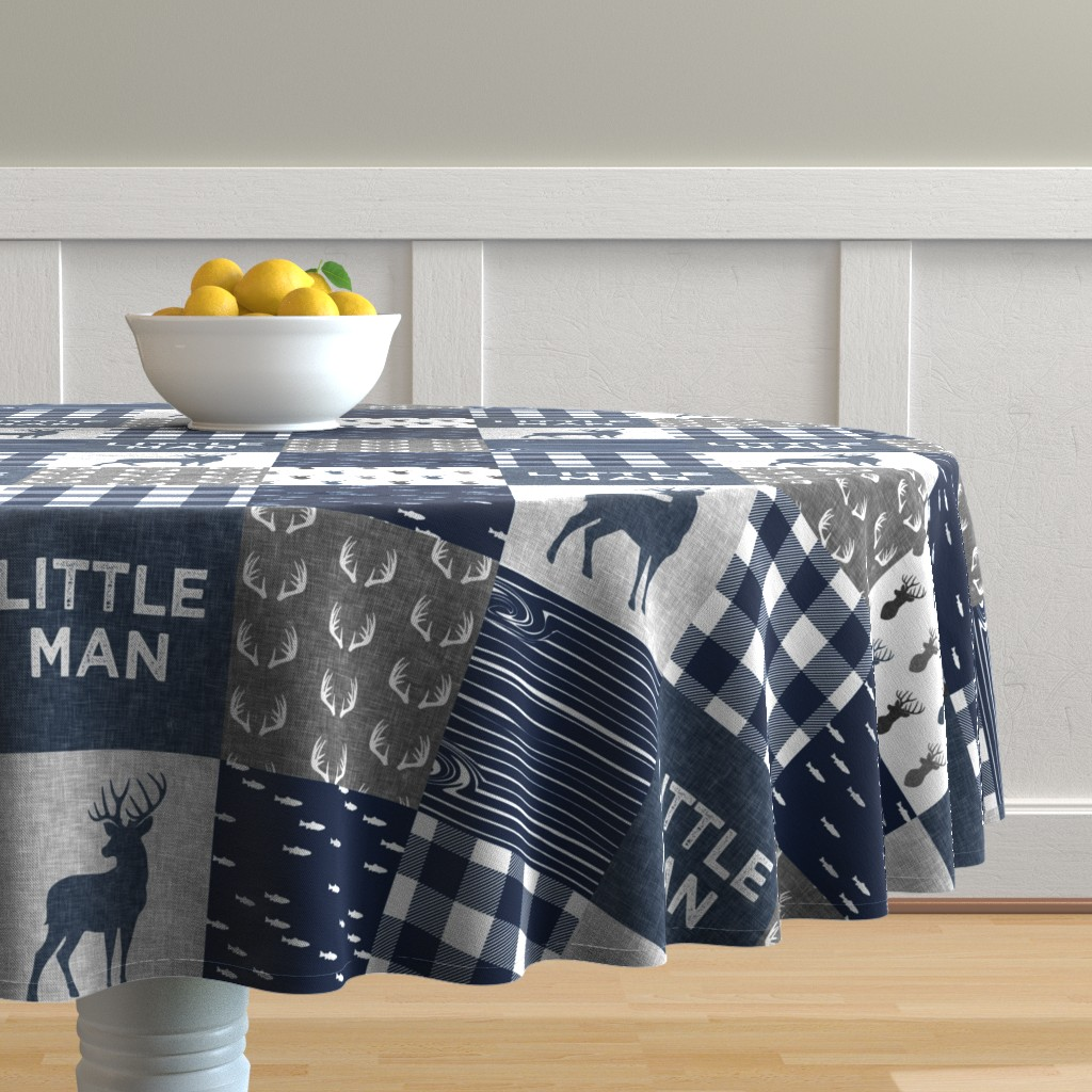 Malay Round Tablecloth featuring little man - navy and grey (buck) quilt woodland by littlearrowdesign