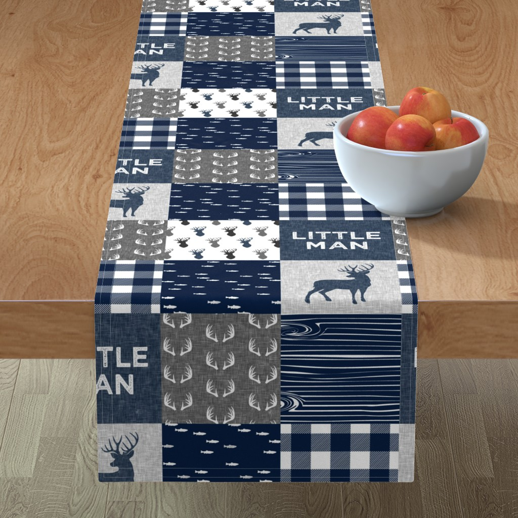 Minorca Table Runner featuring little man - navy and grey (buck) quilt woodland by littlearrowdesign