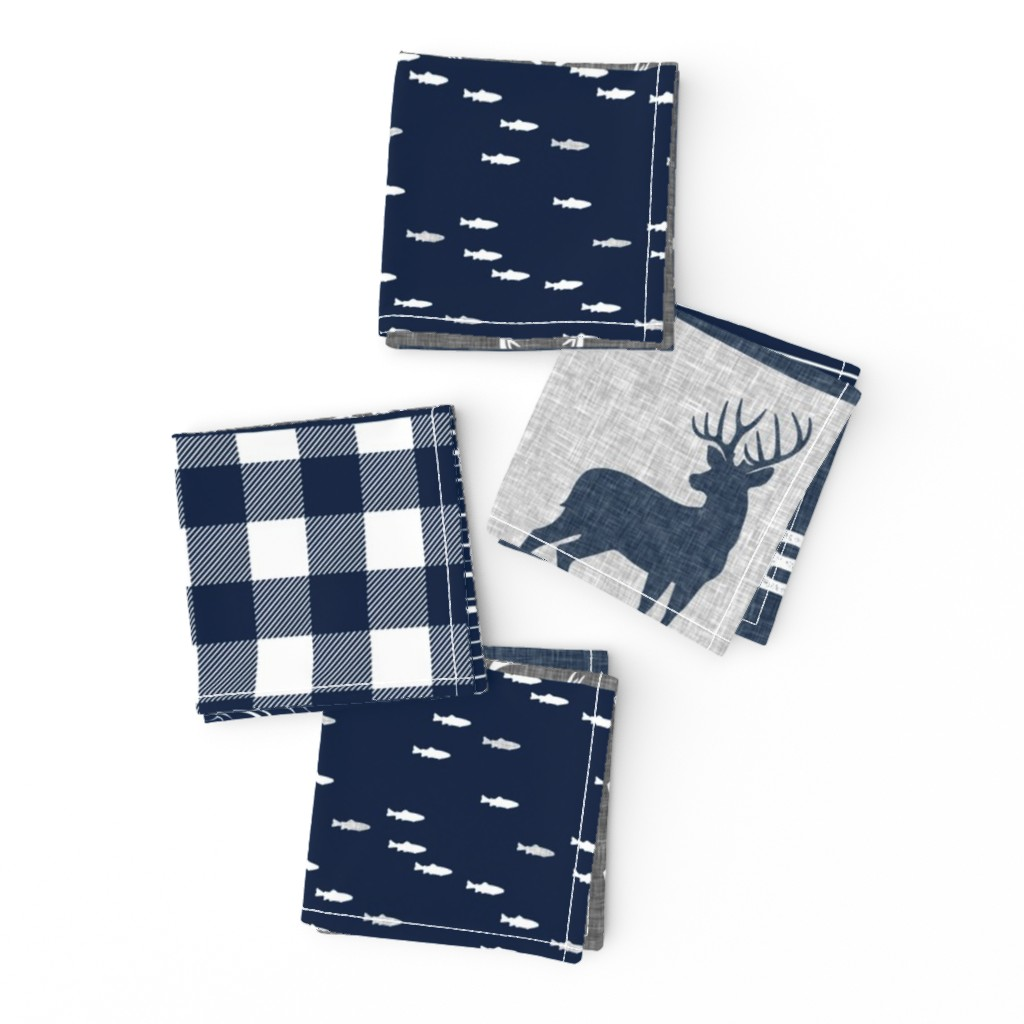 Frizzle Cocktail Napkins featuring little man - navy and grey (buck) quilt woodland by littlearrowdesign