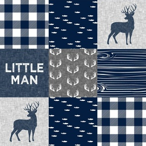 little man - navy and grey (buck) quilt woodland