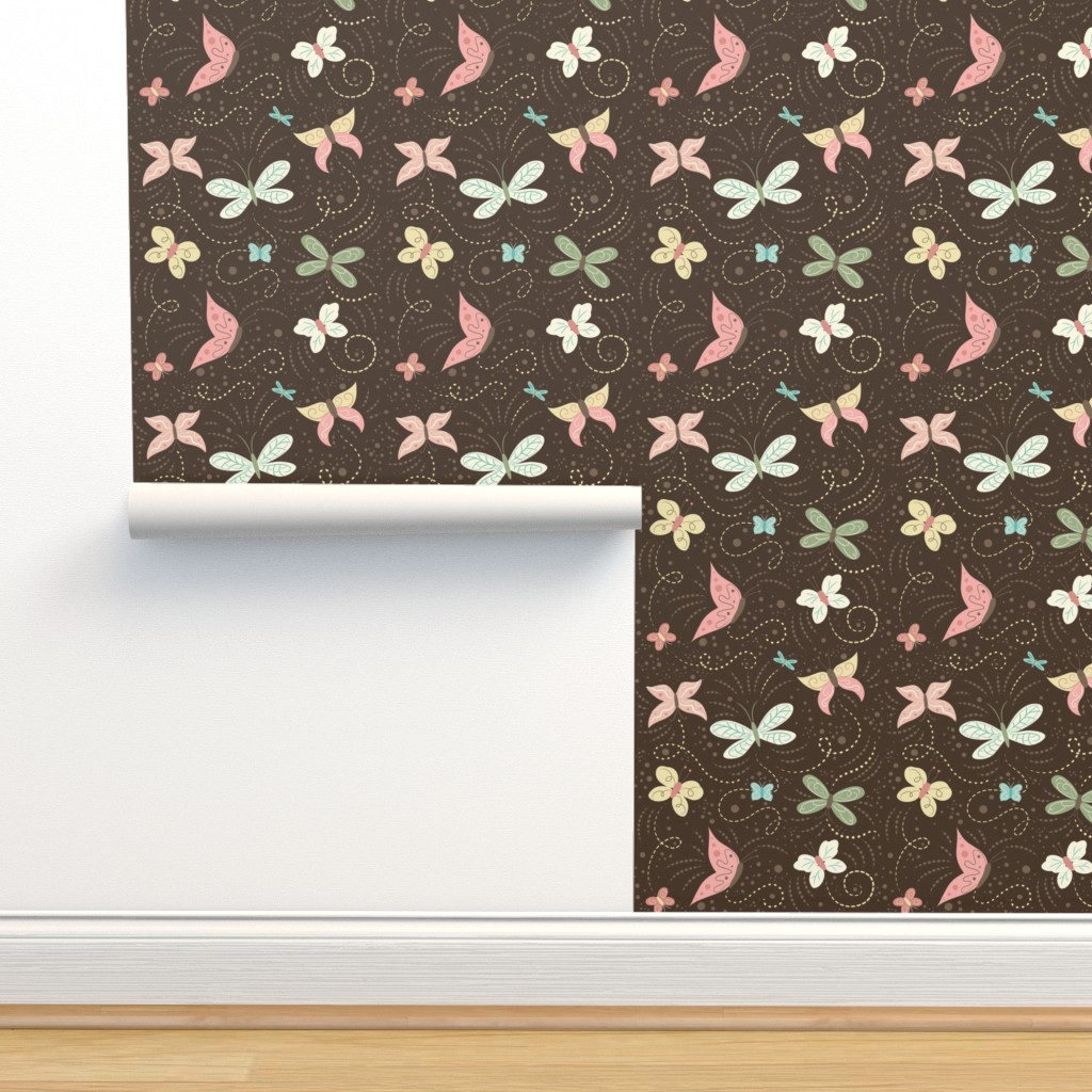Isobar Durable Wallpaper featuring Butterfly_Frolic_Cocoa by johannaparkerdesign
