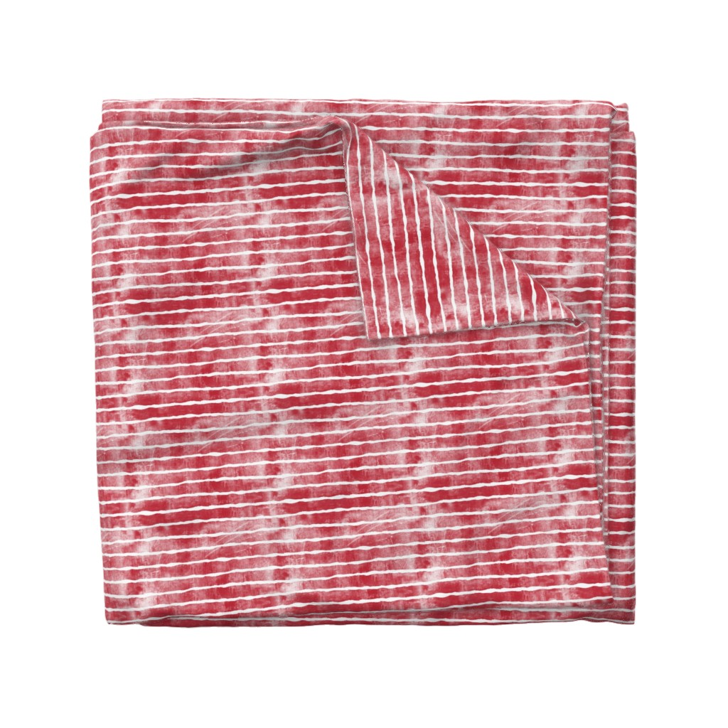 Wyandotte Duvet Cover featuring distressed dark red stripes by littlearrowdesign