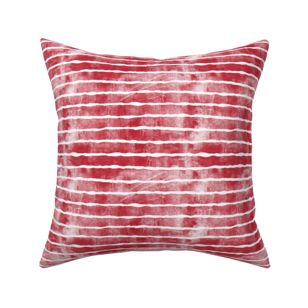 Catalan Throw Pillow featuring distressed dark red stripes by littlearrowdesign