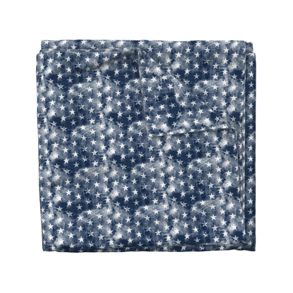 Wyandotte Duvet Cover featuring distressed stars on navy by littlearrowdesign