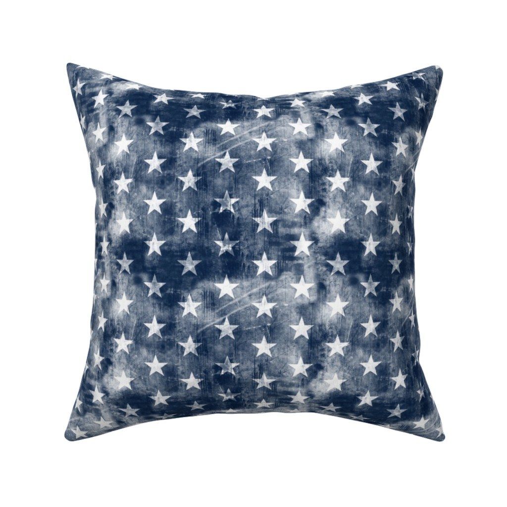 Catalan Throw Pillow featuring distressed stars on navy by littlearrowdesign