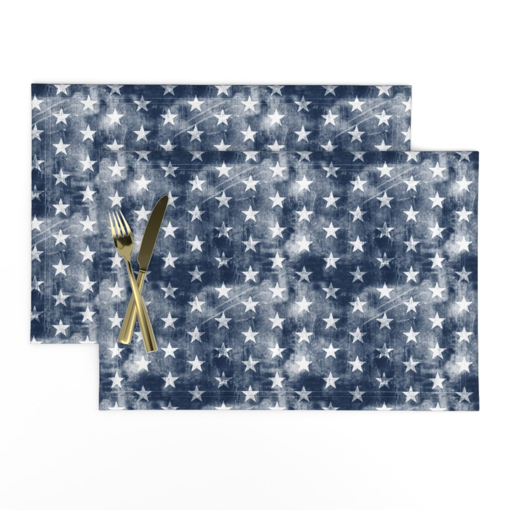 Lamona Cloth Placemats featuring distressed stars on navy by littlearrowdesign