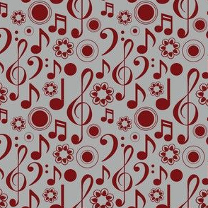 Notes and Clefs in Maroon and Gray