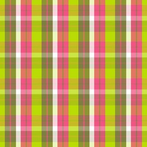 pink yellow plaid three