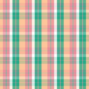 pink peach green plaid eight