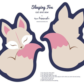 Cut and sew your own Sleeping Fox - Navy