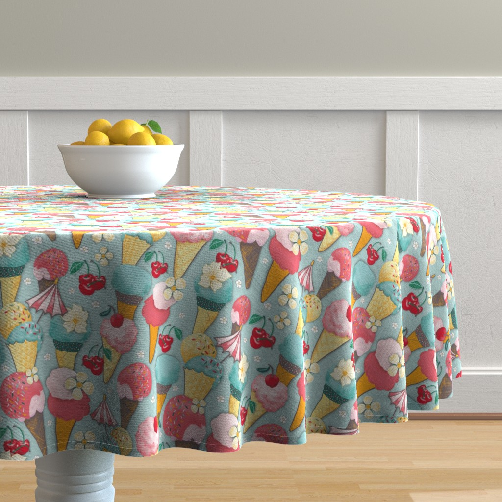 Malay Round Tablecloth featuring White Bubbles on brown by colorofmagic