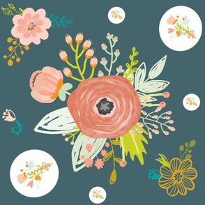 Teal with Flowers 90