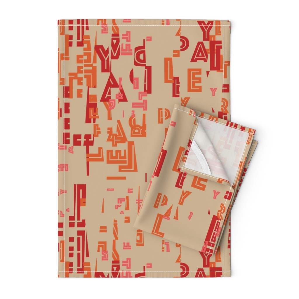 Orpington Tea Towels featuring letter play - wordy red/orange/pink on camel by cinneworthington