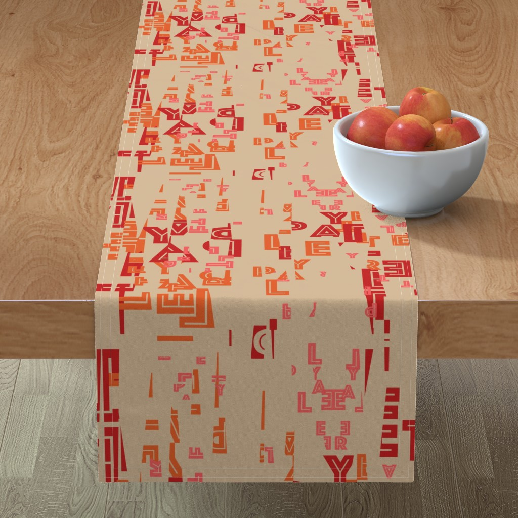 Minorca Table Runner featuring letter play - wordy red/orange/pink on camel by cinneworthington