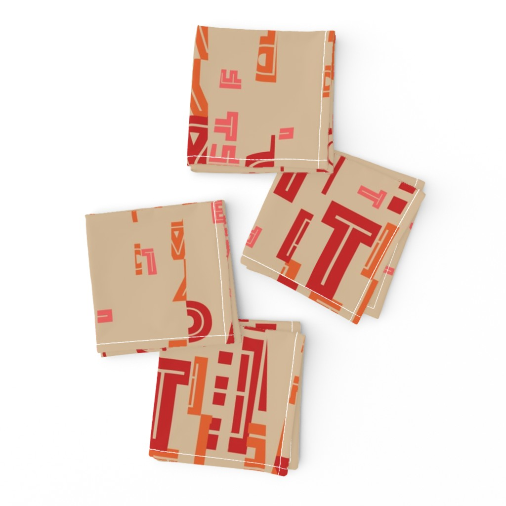 Frizzle Cocktail Napkins featuring letter play - wordy red/orange/pink on camel by cinneworthington
