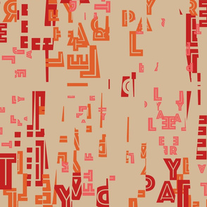 letter play - wordy red/orange/pink on camel