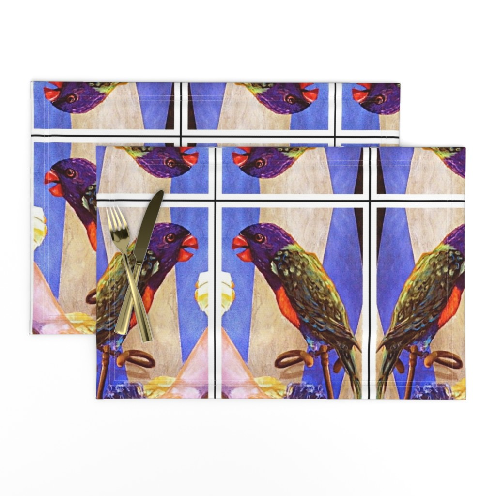 Lamona Cloth Placemats featuring Parrot Kalaeidescope by crazrtist