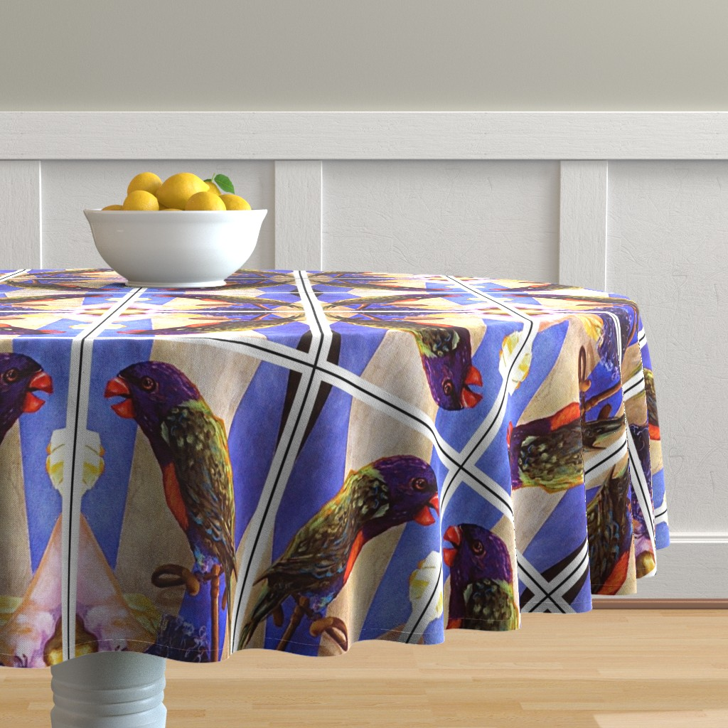 Malay Round Tablecloth featuring Parrot Kalaeidescope by crazrtist
