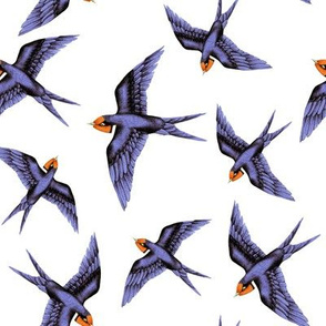 Swooping Swallows on White