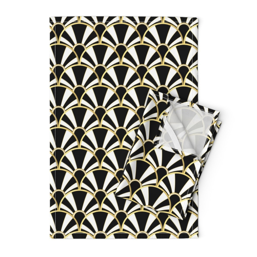 Orpington Tea Towels featuring Art Deco Fan in Black, White and Gold by suzzincolour