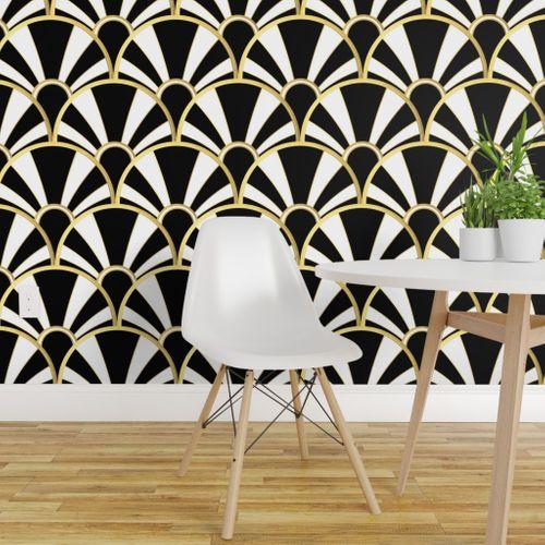 Wallpaper Art Deco Fan In Black White And Gold
