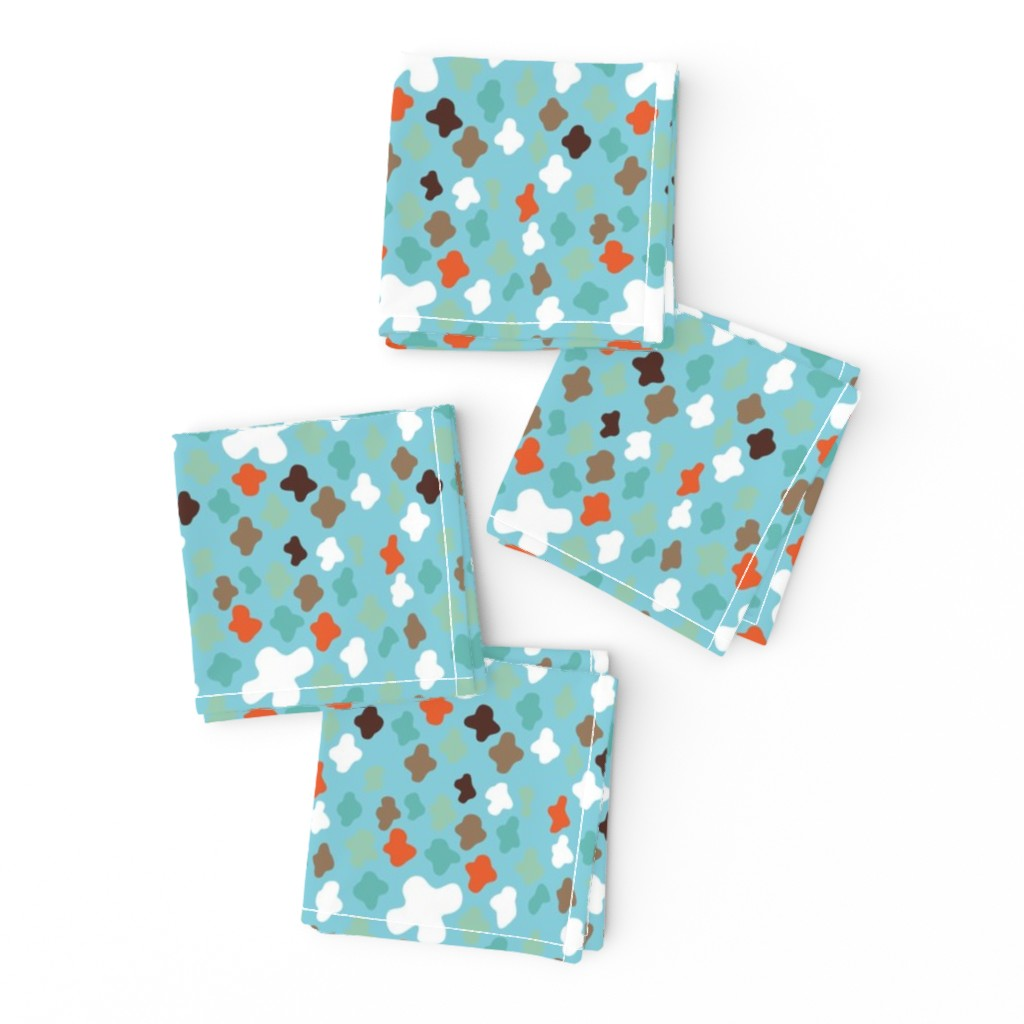 Frizzle Cocktail Napkins featuring scattered crosses – turquois by colorofmagic