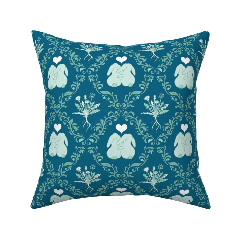 Catalan Throw Pillow featuring scattered crosses – green by colorofmagic