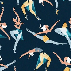Normal scale // Suspended Rhythm // navy blue background blue and yellow ballet dancers