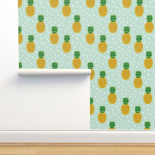 6188346 pineapple fabric mint tropical summer fruit fabric by charlottewinter